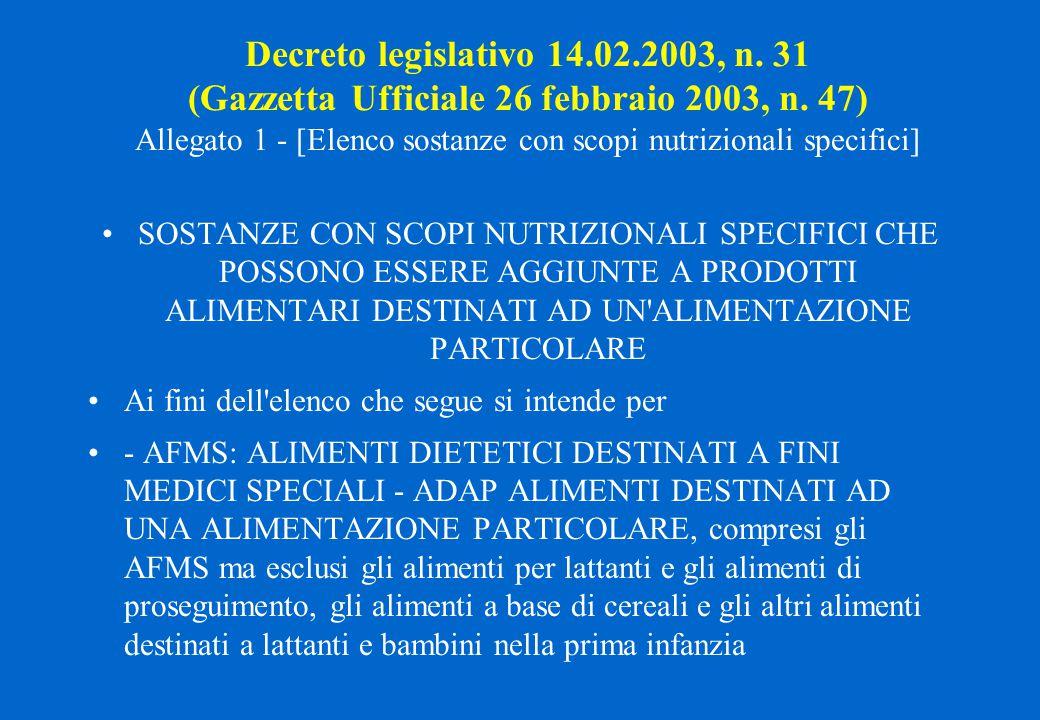 Decreto legislativo 14.02.2003, n. 31 (Gazzetta Ufficiale 26 febbraio 2003, n. 47) Allegato 1 - [Elenco sostanze con scopi nutrizionali specifici]